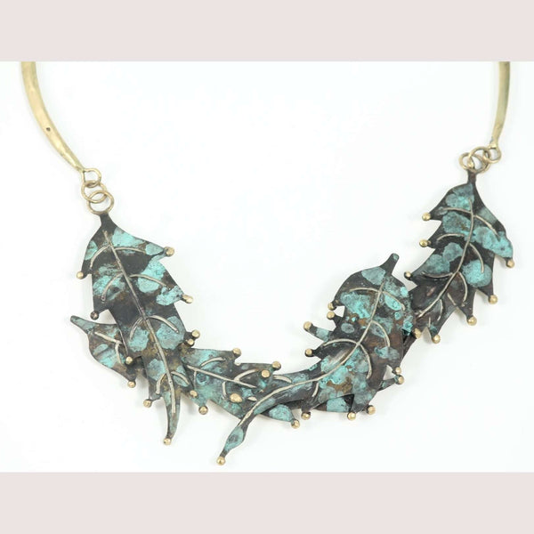 "Hand Crafted Original Bronze ""Leaves #1"" Necklace Mexican Art Custom Jewelry"