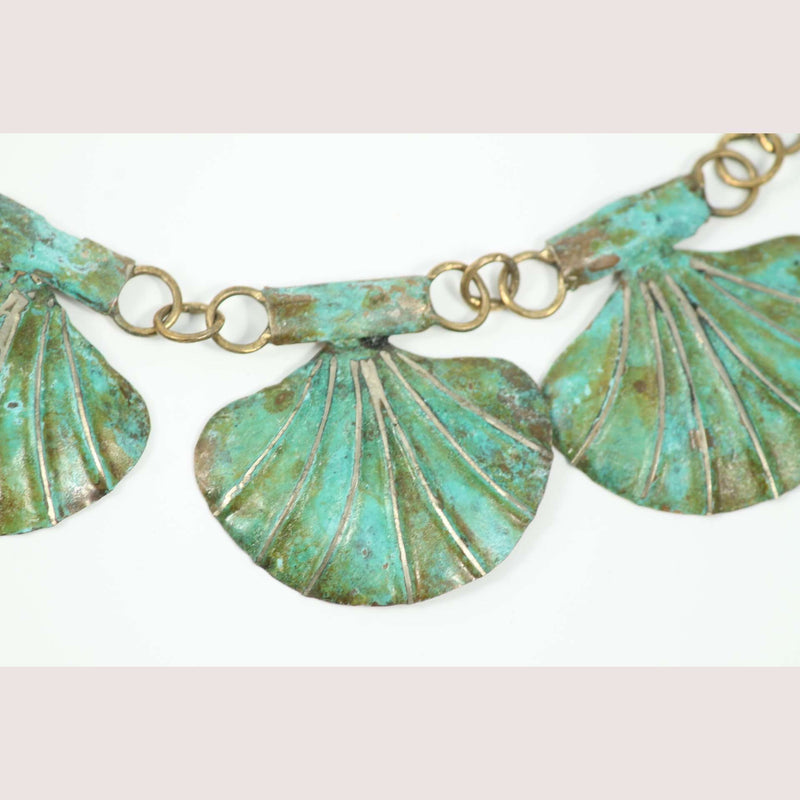 "Hand Crafted Original Bronze ""Shells"" Necklace Mexican Art Custom Jewelry"