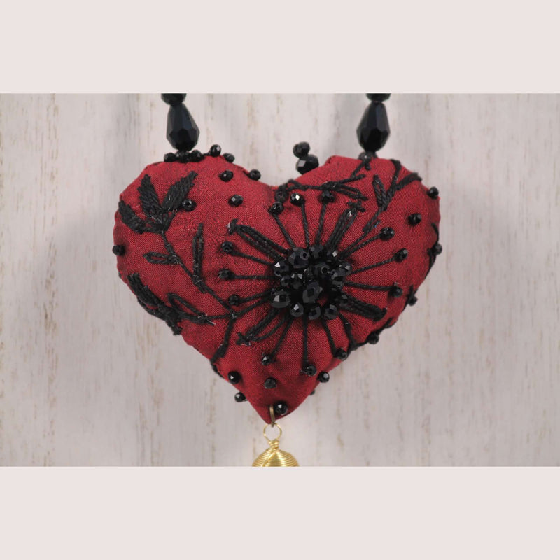 Hand Crafted Red/Black Heart Necklace Mexican Art Jewelry Custom Made