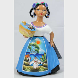 Lupita Doll Basket of Toys Espanola Celeste Dress Ceramic Mexican