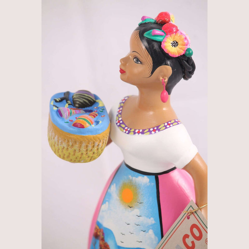 Lupita Doll Basket of Toys Espanola Pink Dress Ceramic Mexican