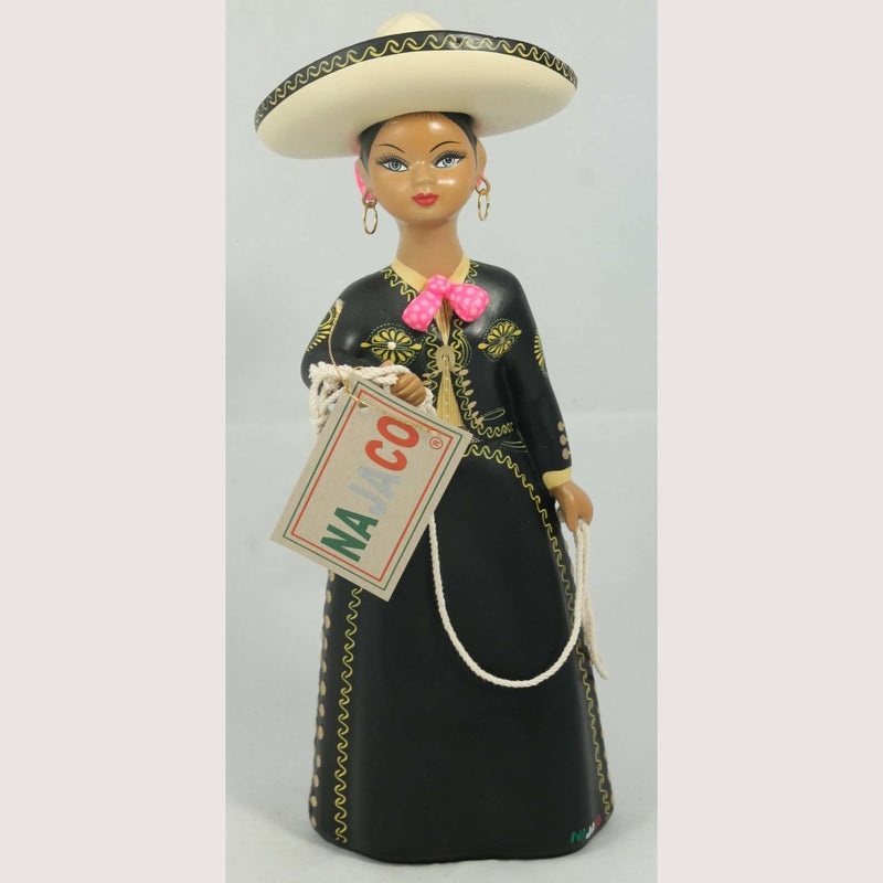Charra Negra, Black,NAJACO Lupita Doll, Mexico Folk Art Original