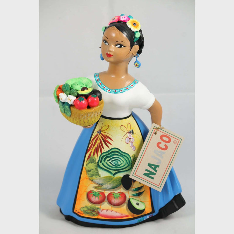Lupita Doll Espanola Blue Dress Veggie Seller Basket Ceramic Mexican