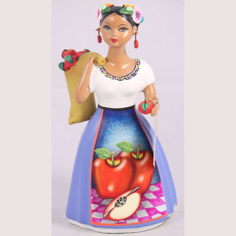 """Lupita"" Doll NAJACO Ceramic Mexican Apple Carry Sack New Blue"