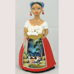 """Lupita"" Female Ceramic Doll Cheese Basket Original Red Clay Pottery"