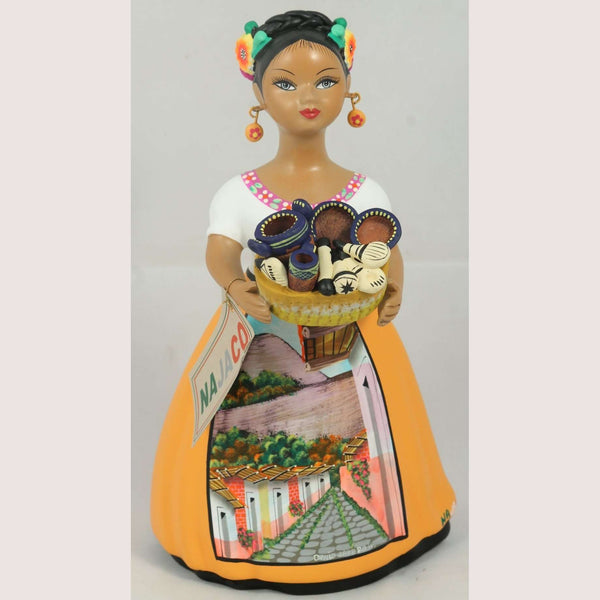 """Lupita"" Female Ceramic Doll Mexican Kitchenware Basket Mustard"