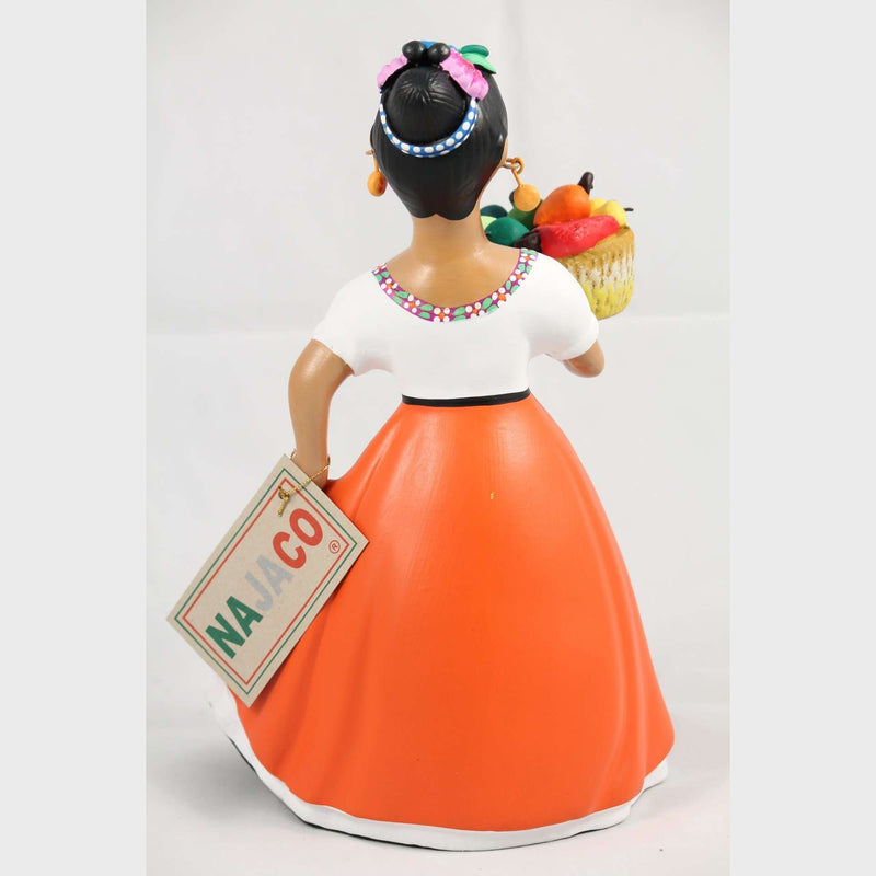 "Lupita Najaco Ceramic Doll Figurine Mexican ""Espanola Chiles"" Basket Orange"