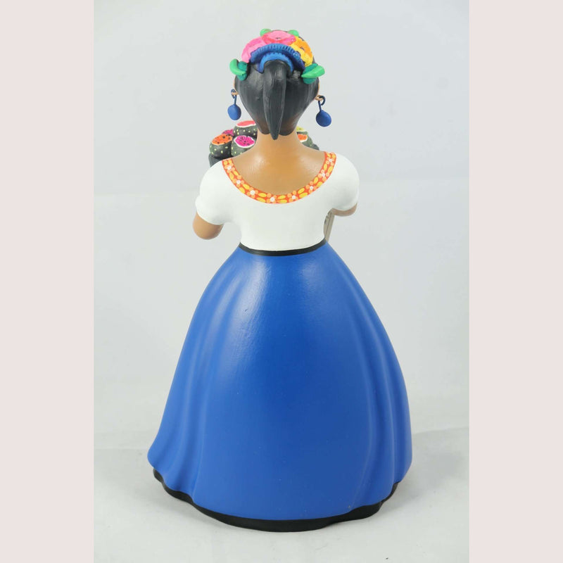 Lupita Najaco Ceramic Figurine Mexico Pitaya/Dragon Fruit Royal Blue