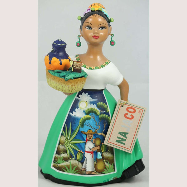 """Lupita"" NAJACO Doll Ceramic Figurine Espanola Pulque Seller Green Dress"