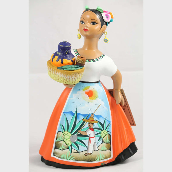 """Lupita"" NAJACO Doll Ceramic Figurine Espanola Pulque Seller Orange Dress"
