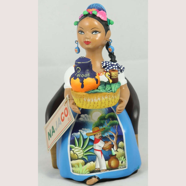 """Sitting Pulquera"" Celeste blue Dress, ""Lupita"" Najaco Doll Ceramic Figurine"