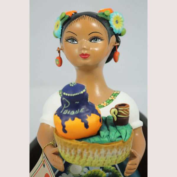 """Lupita"" Najaco Doll Ceramic Figurine ""Sitting Pulquera"" Turquoise Dress"