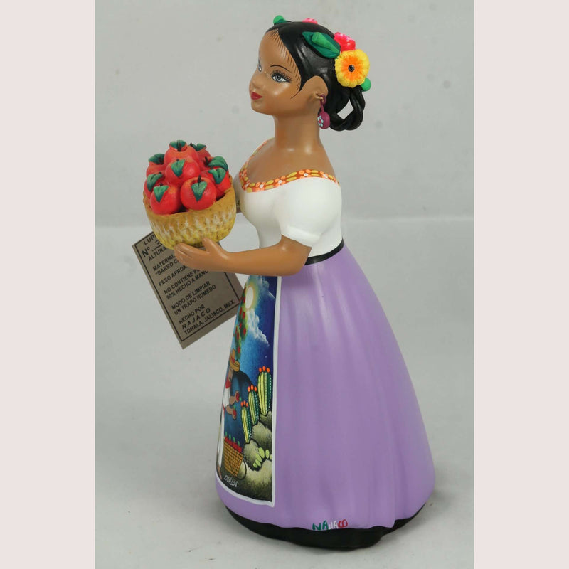 Lupita Najaco Doll/Figurine Ceramic Mexico Folk Art Apple Basket Lilac