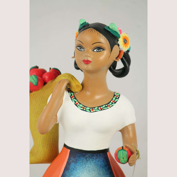"""Lupita"" Najaco Female Ceramic Figurine Mexican Apple Carry Bag Orange"