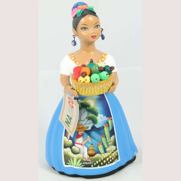 """Lupita"" Najaco Female Ceramic Figurine Mexico Folk Art Chilies Basket Blue"