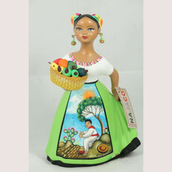 """Lupita"" Najaco Mexican Ceramic Doll, Basket of Chilies, Lime Skirt Espanola"