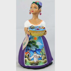 """Lupita"" Toy Basket Purple Ceramic Doll Mexican Clay Folk Art  #1"