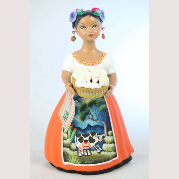 Lupital NAJACO Ceramic Figurine Mexican Folk Art Cheese Basket Orange