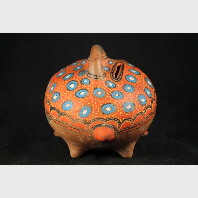 Mexican Ceramic Frog Coin Bank Vntage Folk Art Pottery1940-50's