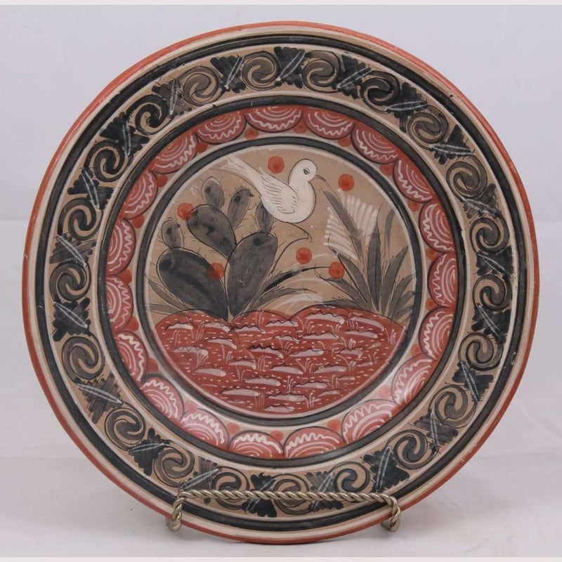 Mexican Ceramic Hanging Plate Hand Painted Bird #1