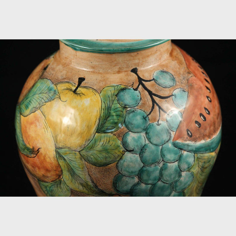 Mexican Ceramic/Pottery Jar/Container w Lid, Talavera, Hand Painted Fruit