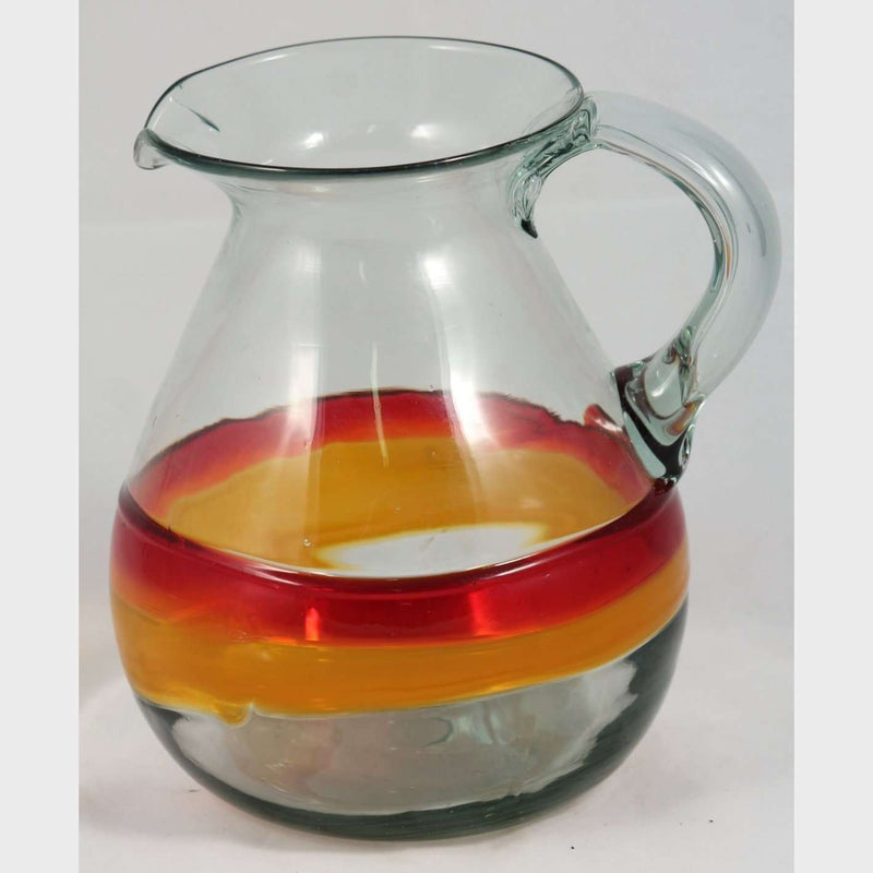 Mexican Glass Pitcher Red/Orange Stripes Mouth Blown