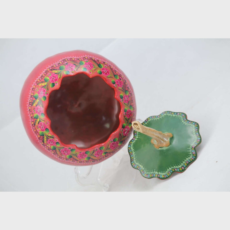 Mexican Gourd w Lid Handmade/Painted New Pink/Green