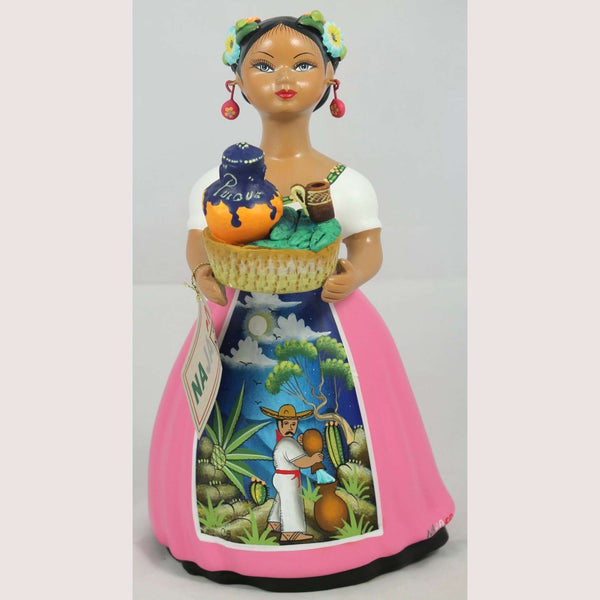 "Mexican ""Lupita"" Doll Ceramic Figurine Pulque Seller Pink Dress"