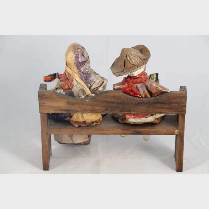 Mexican Paper Mache Couple/Figurines on Wood Bench