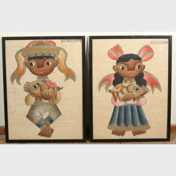 Jose Maria de Servin Boy and Girl with Piglets, Mid-Century Modernism Paintings, a Pair,