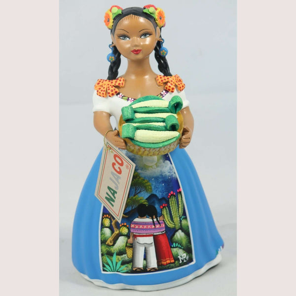 NAJACO Lupita Doll Basket of Corn Blue Dress Ceramic Mexican Premium