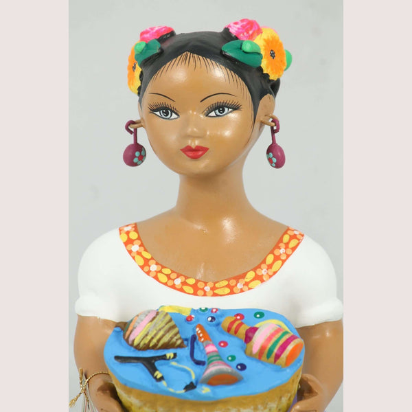 "NAJACO ""Lupita"" Toy Basket Lilac Ceramic Doll Mexican Clay Folk Art"