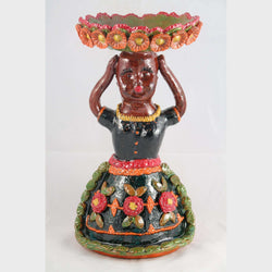 New Ceramic Girl Figurine w Bowl Mexican Folk Art #2