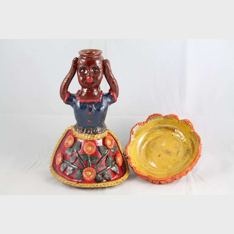 New Ceramic Girl Figurine w Bowl Mexican Folk Art #3