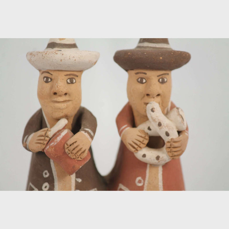 Pottery/Clay 2 Players Whistle/Flute Folk Art Peru South America