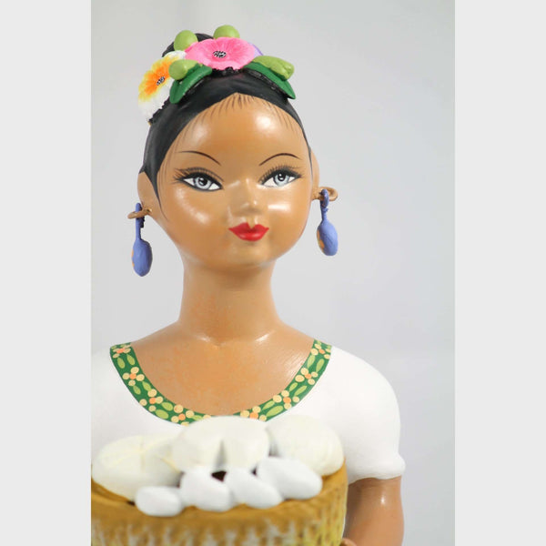 "Premium ""Lupita"" Doll NAJACO Ceramic Mexican Cheese Basket Lilac Skirt"