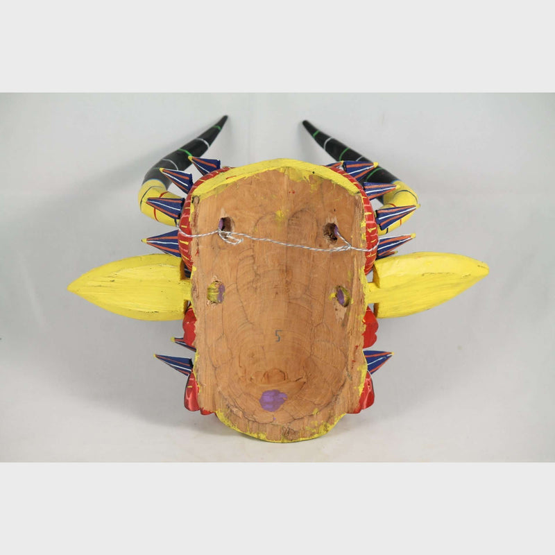 Red Lizards Mexican Wood Hanging Mask Hand Made
