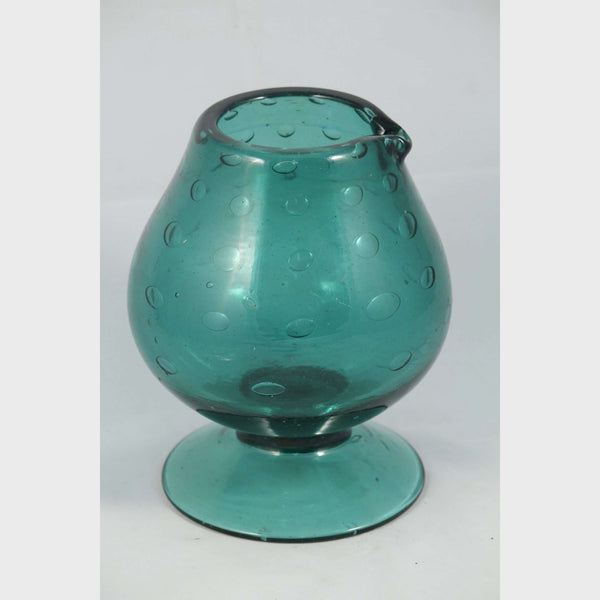 Retro Vintage Blue/Green Mexican Glass Pitcher/Vase Hand Blown