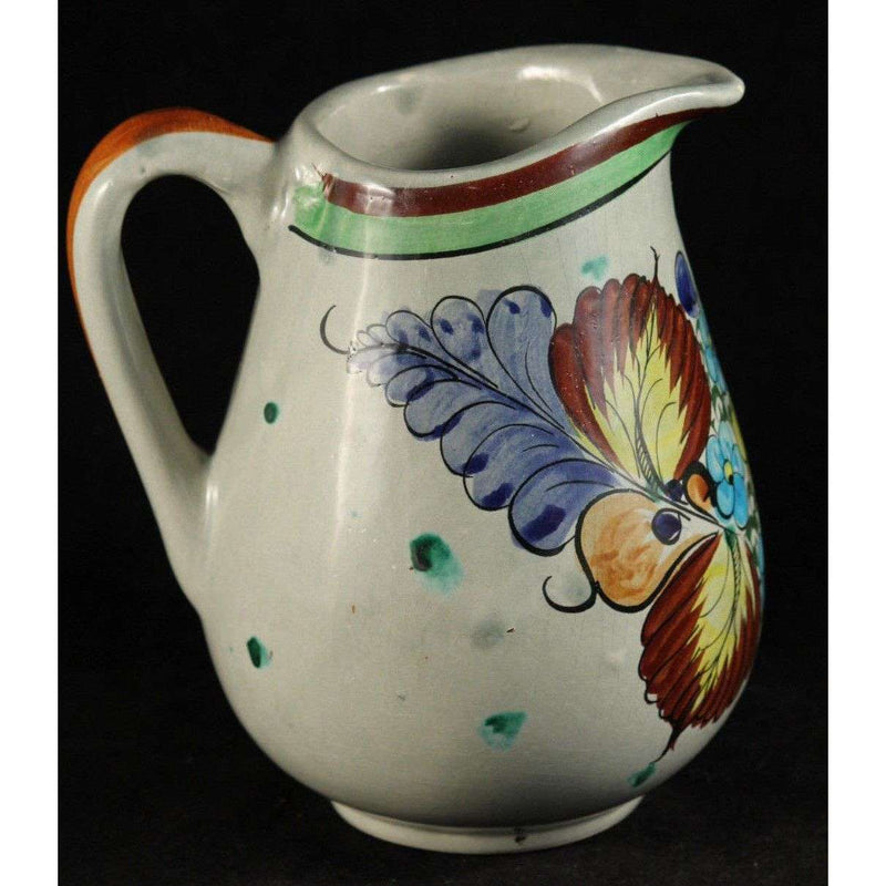 Vintage Mexican Ceramic/Pottery Pitcher Hand Made/Painted Folk Art Signed CAT