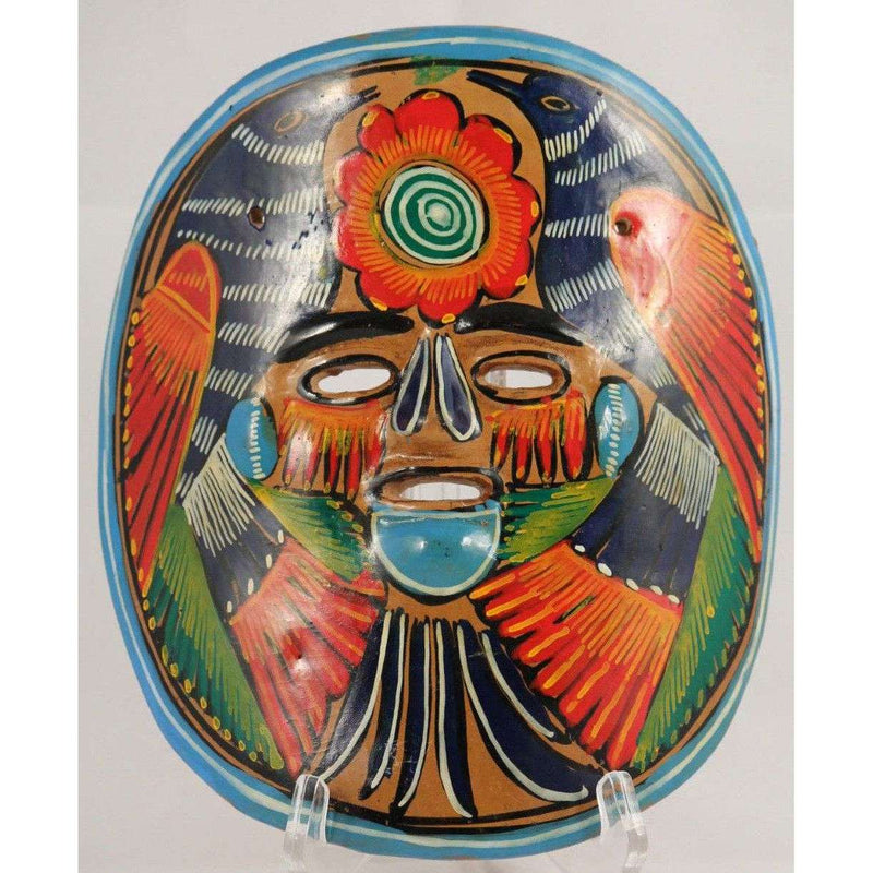 Vintage Mexican Blue Orange Ceramic Hanging Mask Folk Art Hand Formed/Painted