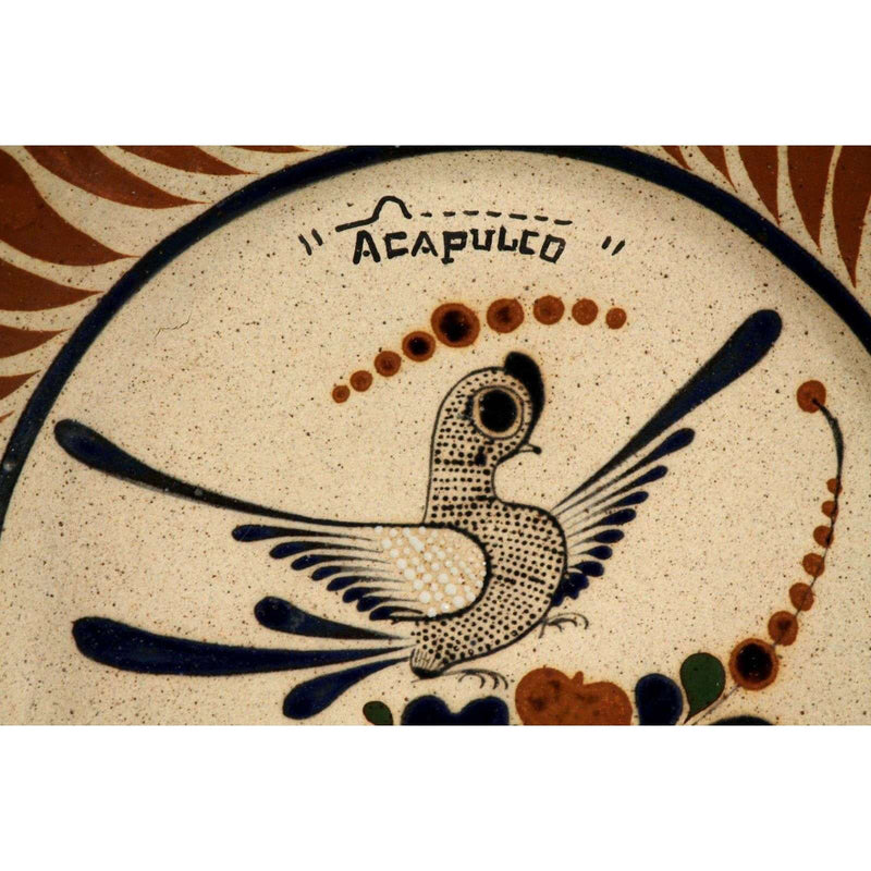 Mexican Ceramic Hanging Plate Initialed Bird Acapulco Hand Painted Folk Art