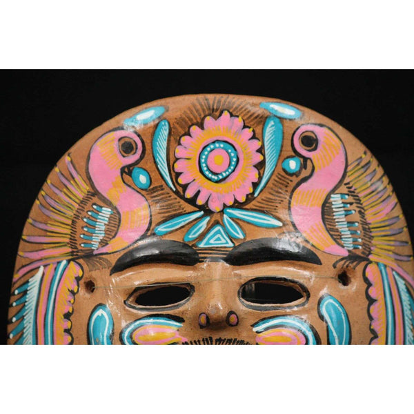 Vintage Mexican Ceramic Hanging Mask Folk Art Hand Formed/Painted (Pink/Turq)