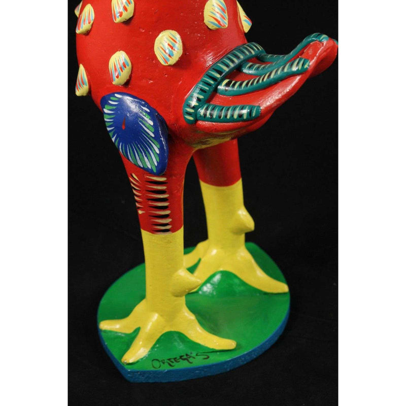 "Original Mexican Ceramic Red Rooster Betus Ortega Collectible Folk Art 18"" #2"