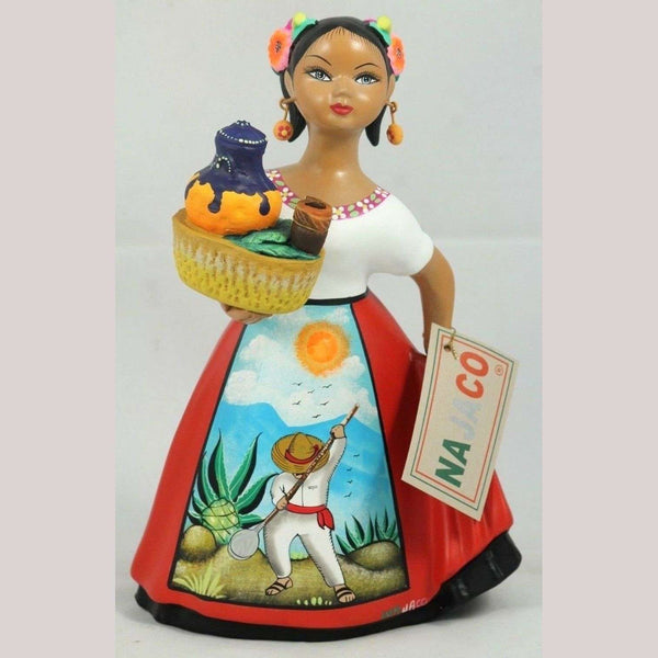 """Lupita"" NAJACO Doll Espanola Pulque Seller Red Dress Ceramic Figurine"