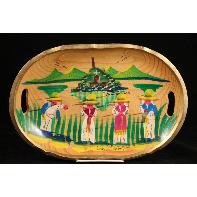 Mexican Wood Decorative Platter Los Viejos Michoacan Hand Painted Folk Art