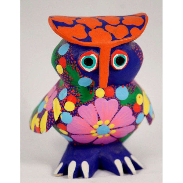 Mexican Wood Art Owl Figurine Alebrije Folk Art Oaxaca Collectible Signed