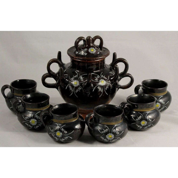 "Antique/Vintage Mexican Ceramic/Clay ""Pulque"" Jar/ 6 Cups Folk Art Decorative"