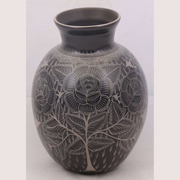 Vase Mexican Ceramic/Pottery Hand Painted Black / White #1