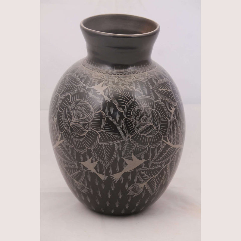 Vase Mexican Ceramic/Pottery Hand Painted Black / White #2