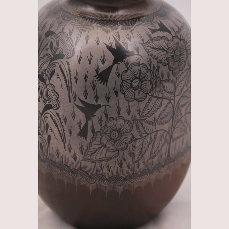 Vase Mexican Ceramic/Pottery Hand Painted Square Sides Flower/Birds #2